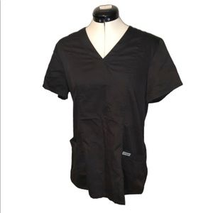Grey's Anatomy black scrub top, fitted, pockets, M